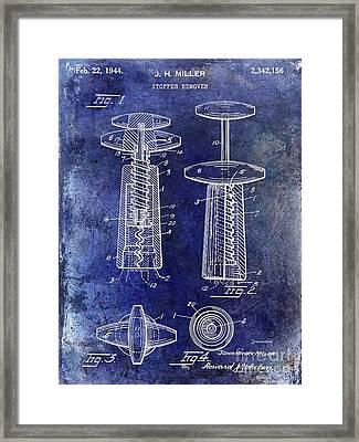 1944 Corkscrew Patent  Blue Framed Print