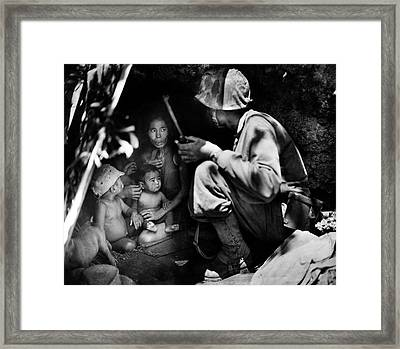 1944 Us Marine Assists Saipan Family Framed Print by Historic Image