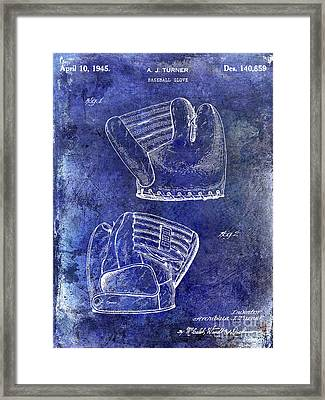 1945 Baseball Glove Patent Blue Framed Print