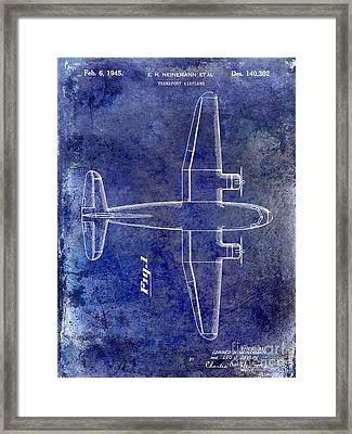 1945 Transport Airplane Patent Blue Framed Print by Jon Neidert