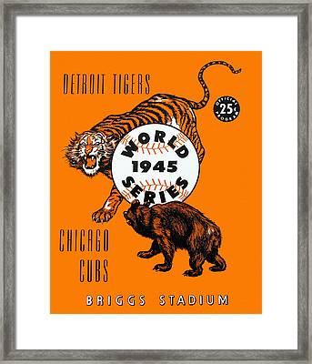 1945 World Series Program Tigers V Cubs Framed Print by Big 88 Artworks