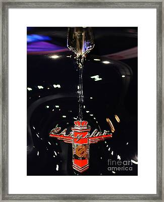 1946 Chrysler Town And Country Convertible . Hood Ornament And Badge Framed Print