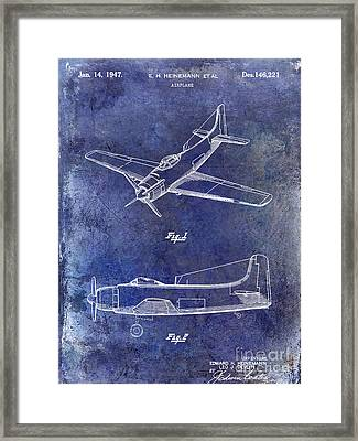 1947 Airplane Patent Blue Framed Print