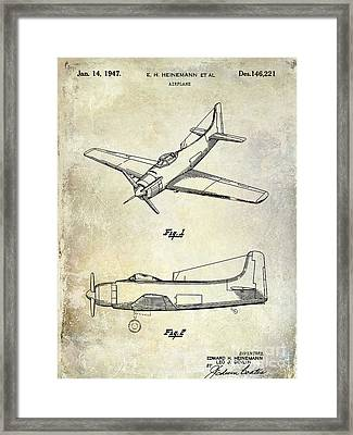 1947 Airplane Patent Framed Print