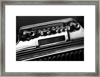 1947 Cadillac Radio Black And White Framed Print