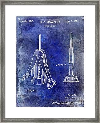 1947 Corkscrew Patent Blue Framed Print