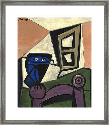 1947 Hibou Sur Une Chaise Framed Print