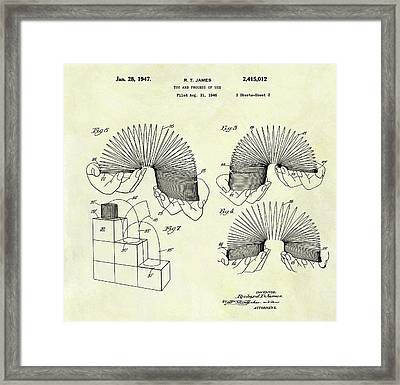 1947 Slinky Patent Framed Print by Dan Sproul
