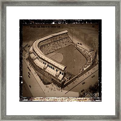 1947 Wrigley Field Postcard - Chicago Cubs - Antiqued Series Framed Print