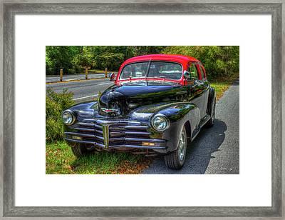 1948 Chevy Fleetmaster Coupe Georgia Bulldog Colors Art Framed Print by Reid Callaway