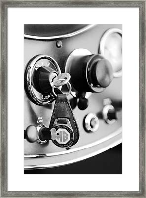 1948 Mg Tc Key Ring Black And White Framed Print by Jill Reger