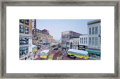 1948 Rush Hour Portsmouth Ohio Framed Print