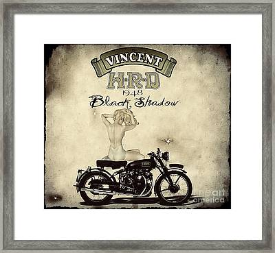 1948 Vincent Black Shadow Framed Print by Cinema Photography