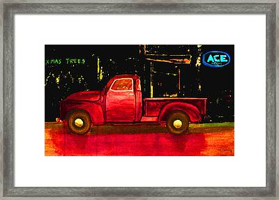 1949 Chevy Pickup Neon Framed Print