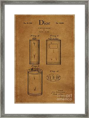 1949 Dior Perfume Box Package Design 1 Framed Print by Nishanth Gopinathan