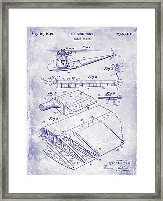 1949 Helicopter Patent Blueprint Framed Print by Jon Neidert