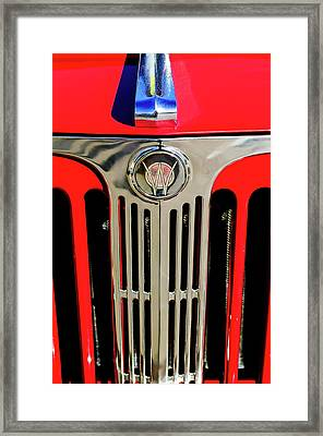 1949 Willys Jeepster Hood Ornament And Grille Framed Print by Jill Reger