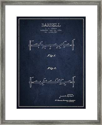 1950 Barbell Patent Spbb04_nb Framed Print by Aged Pixel