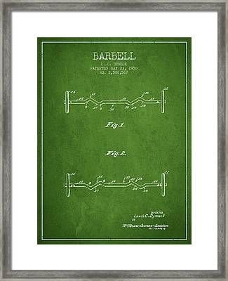 1950 Barbell Patent Spbb04_pg Framed Print by Aged Pixel