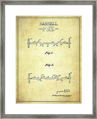 1950 Barbell Patent Spbb04_vn Framed Print by Aged Pixel