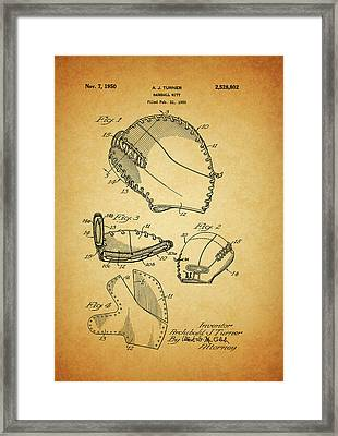 1950 Baseball Mitt Patent Framed Print by Dan Sproul