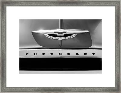 1950 Chevrolet Fleetline Grille Emblem -1431bw Framed Print