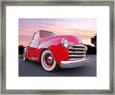 1950 Chevy Pick Up At Sunset Framed Print