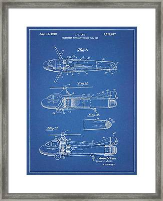 1950 Helicopter Patent Blueprint Framed Print by Dan Sproul