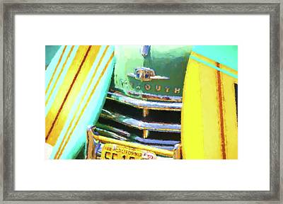 1950 Plymouth Woody And Surfboards Watercolor 2 Framed Print