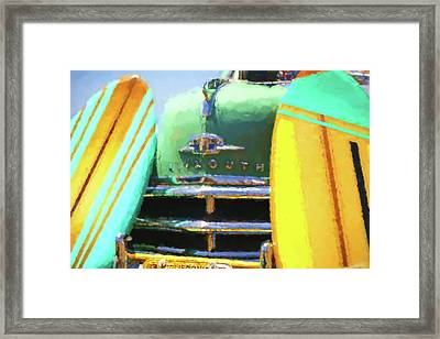 1950 Plymouth Woody And Surfboards Watercolor 3 Framed Print
