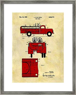 1950 Red Firetruck Patent Framed Print by Dan Sproul
