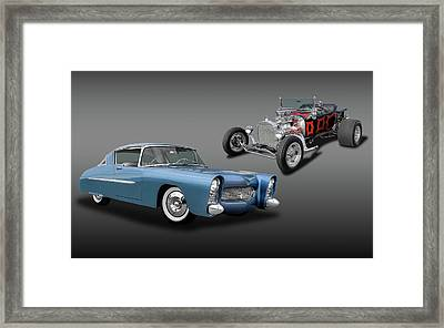 1950 Ultra Modern Merc And A 1923 T-bucket Roadster  -  1950merc1923tbucket6086 Framed Print by Frank J Benz