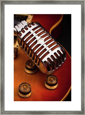 1950's Classic Guitar And Microphone Framed Print by Hal Bergman