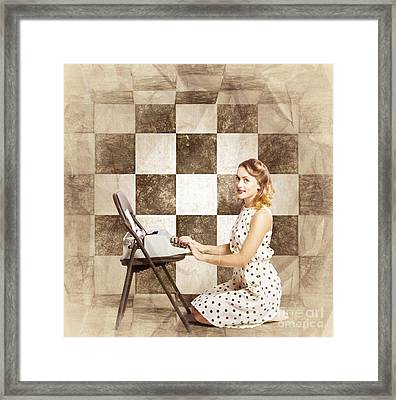 1950s Fictional Pinup Writer Framed Print by Jorgo Photography - Wall Art Gallery