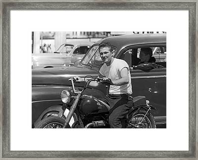 1950s Youth On A Motorcycle Framed Print by Underwood Archives