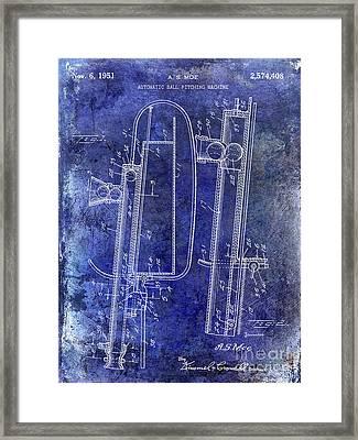 1951 Baseball Pitching Machine Patent Blue Framed Print