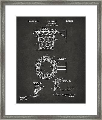 1951 Basketball Net Patent Artwork - Gray Framed Print