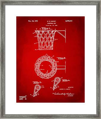 1951 Basketball Net Patent Artwork - Red Framed Print by Nikki Marie Smith
