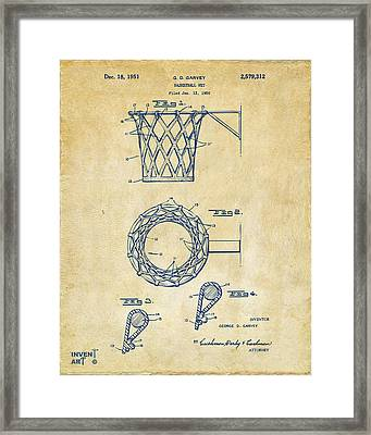 Framed Print featuring the digital art 1951 Basketball Net Patent Artwork - Vintage by Nikki Marie Smith