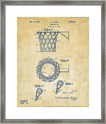 1951 Basketball Net Patent Artwork - Vintage Framed Print by Nikki Marie Smith