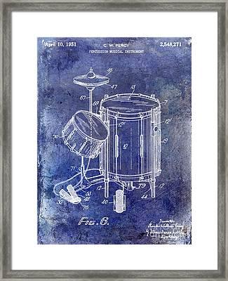 1951 Drum Kit Patent Blue Framed Print