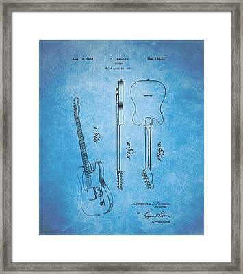 1951 Fender Guitar Patent Blue Framed Print