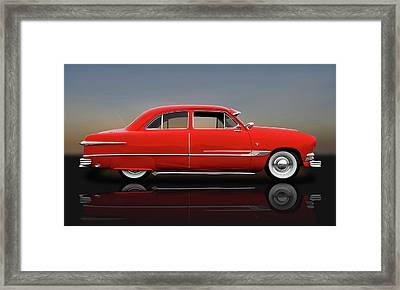 1951 Ford Tudor Sedan  -  1951fordtudorrflct9445 Framed Print