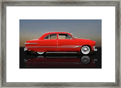 1951 Ford Tudor Sedan  -  1951fordtudorrflct9445 Framed Print by Frank J Benz
