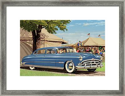 1951 Hudson Hornet Fair Americana Antique Car Auto Nostalgic Rural Country Scene Landscape Painting Framed Print by Walt Curlee