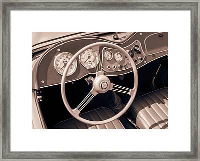 1951 Mg Td Midget Dashboard And Steering Wheel Framed Print by Jim Hughes