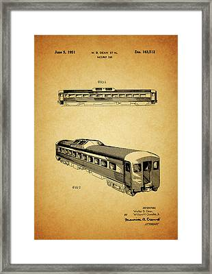 1951 Railway Car Patent Framed Print by Dan Sproul