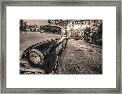 Framed Print featuring the tapestry - textile 1952 Chevy Black And White by Kathy Adams Clark