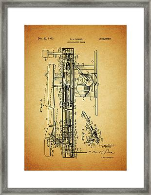 1952 Chiropractic Table Patent Framed Print by Dan Sproul