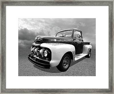 1952 Ford F-1 In Black And White Framed Print by Gill Billington